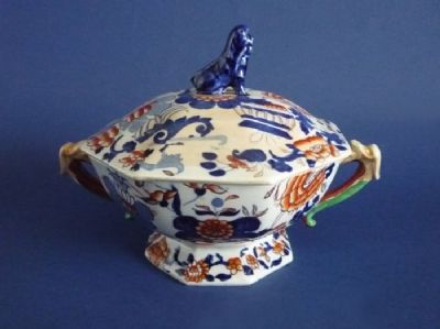 Rare Mason's Patent Ironstone China 'Japan Basket' Broth Pot c1825